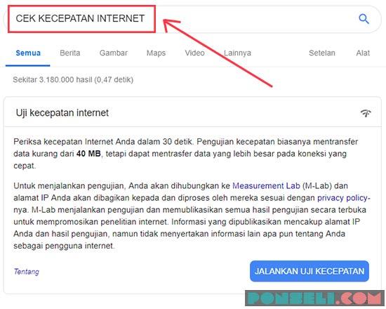 Cek Kecepatan Internet Google