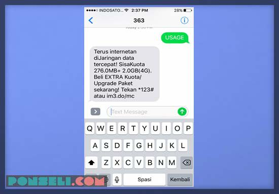 Cek Kuota Indosat Format SMS
