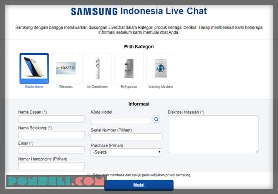 Live Chat Samsung Indonesia