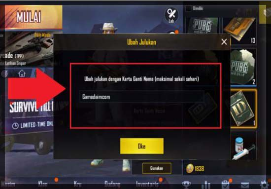 Cara Ganti Nick Name PUBG Mobile